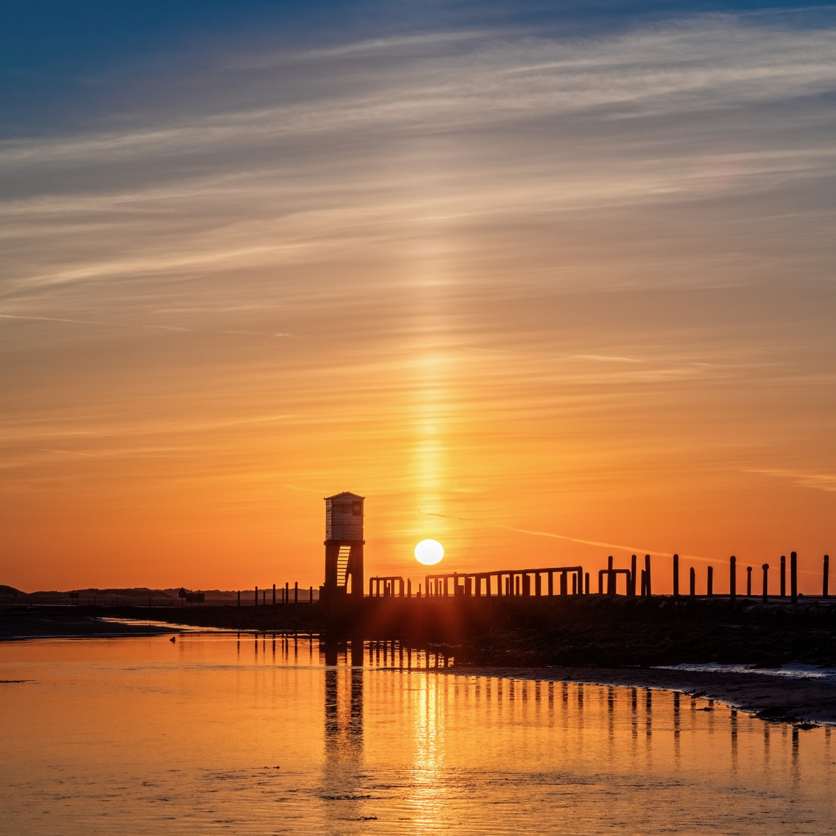 Holy island Causeway sunrise