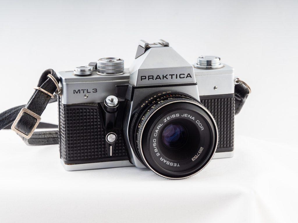 Praktica SLR camera with a legacy Zeiss lens