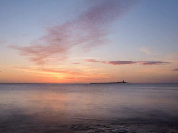 Dawn over the sea looking towards Coquet Island, learn to take photos like this on my one-to-one training courses