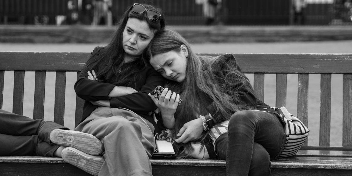 Young women on a bench
