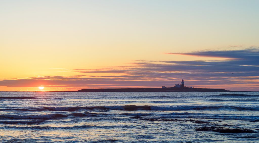 4 images merged. Olympus OM-D E-M1 mark II with 50mm f/1.4 OM manual focus lens. ISO 200, 1/500th f/11 Coquet Island sunrise