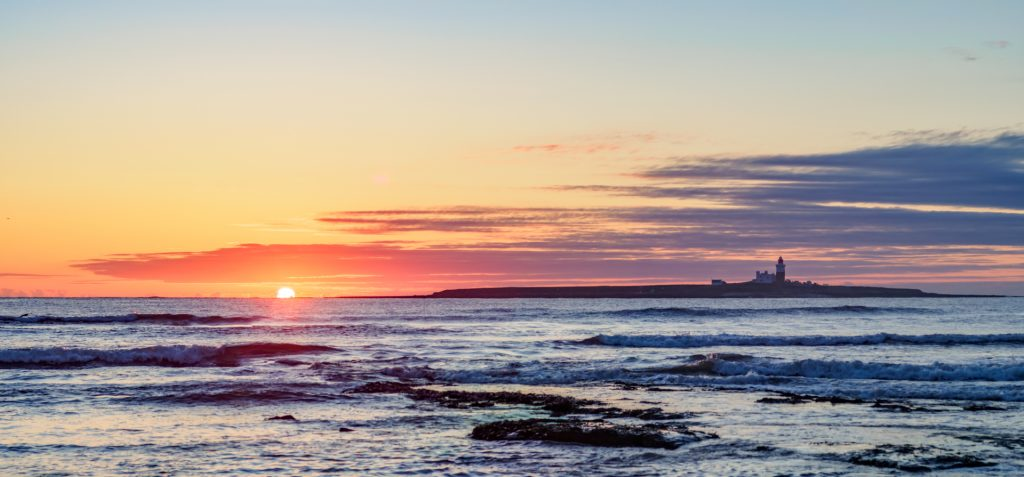 2 images merged. Olympus OM-D E-M1 mark II with 50mm f/1.4 OM manual focus lens. ISO 200, 1/500th f/11 Coquet Island sunrise