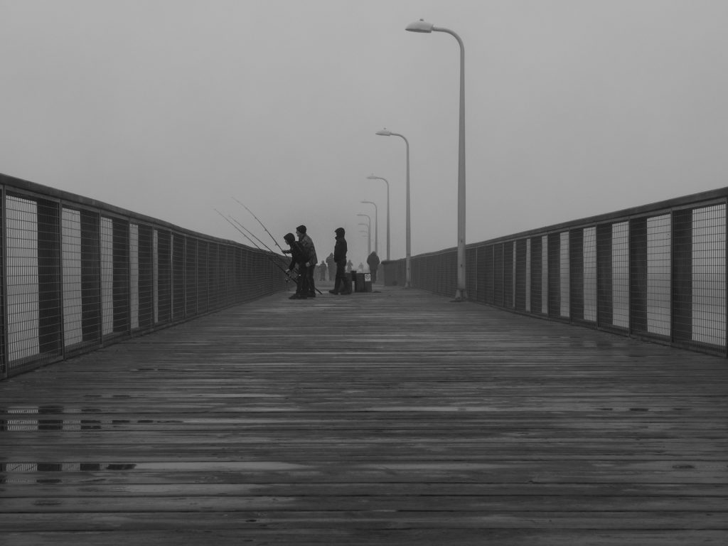 fishing from the pier on a foggy morninh