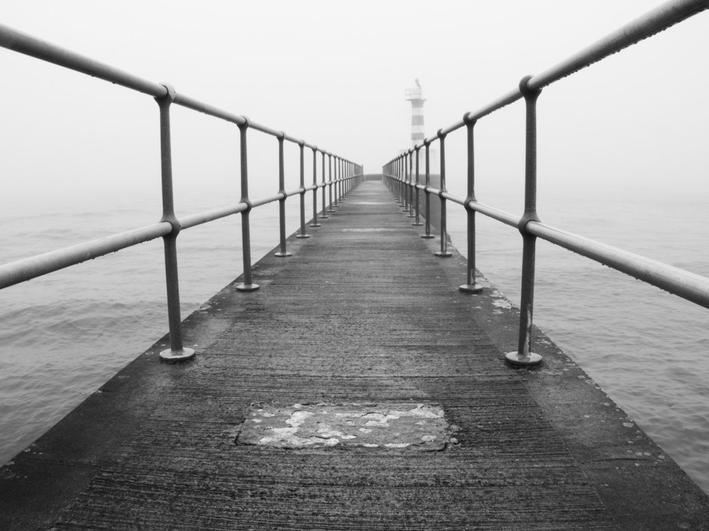 Amble Pier in the fog
