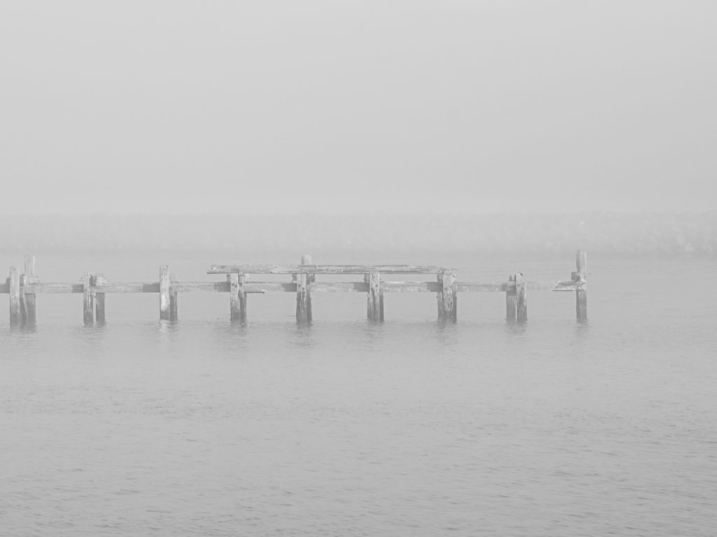 Amble North Pier in the fog