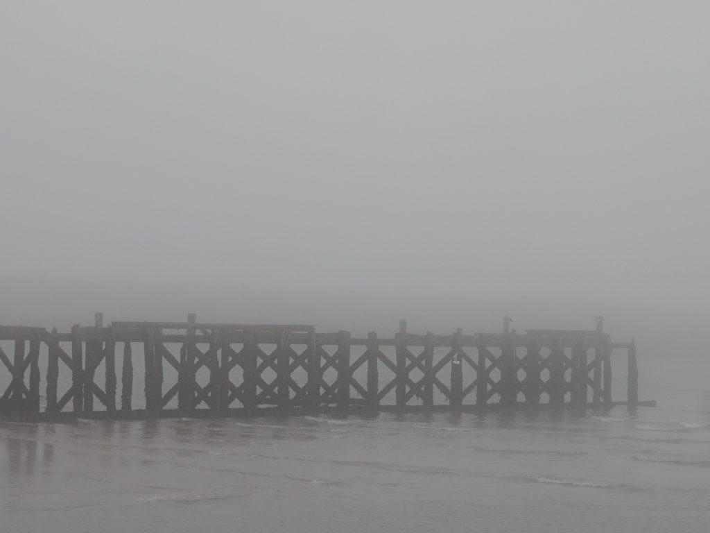 North Pier, shrouded in fog